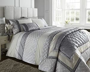 Double Bed Durban Silver Duvet Quilt Cover Set Silver