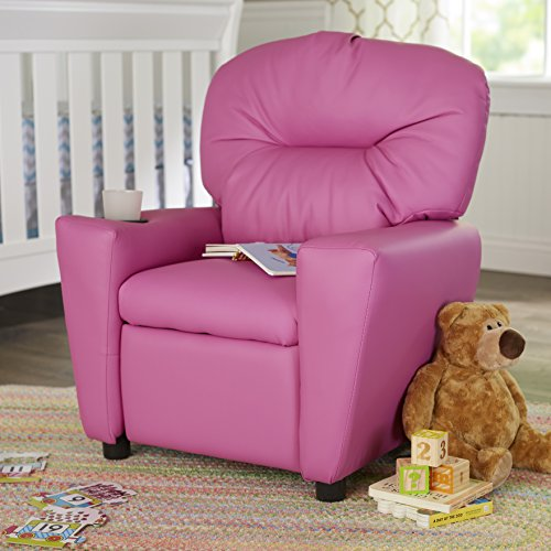 Contemporary Recliner Cup Holder Kids Vinyl Flash Furniture Headrest Children Leather Personalized Color Choice Hardwood Frame And Hot Pink Petite Sized Recliner Overall: 28'' H x 24.5'' W