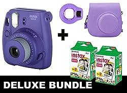 Fujifilm Instax Mini 8 - Grape + 40 Pack Instax Film + Case + Selfie Mirror (Grape)
