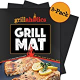 Grillaholics Grill Mat - Lifetime Guarantee - Set of 3 - Nonstick BBQ Grilling Accessories - 15.75 x 13 Inch