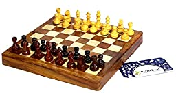 Artist Haat Chess Set - Foldable Magnetic wooden Chess board and chess pieces with storage (SIZE : 7x7 INCHES) .
