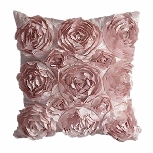 Juanshi Set of 2 Piece Decorative Rose Throw Pillow Cover Cushion Case Color Pink