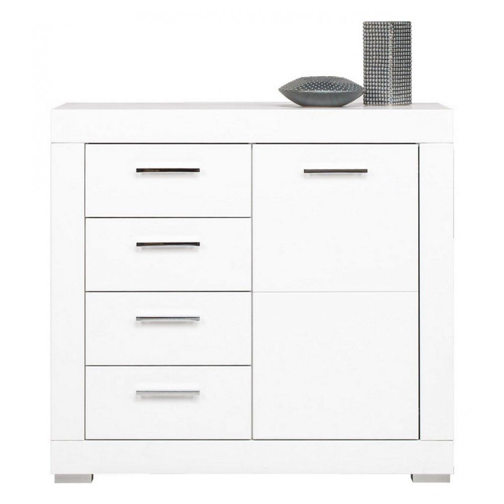 JUSThome WH II White Kommode Sideboard Wohnzimmerschrank (HxBxT): 90x96x40,5 cm Farbe: Weiß Matt