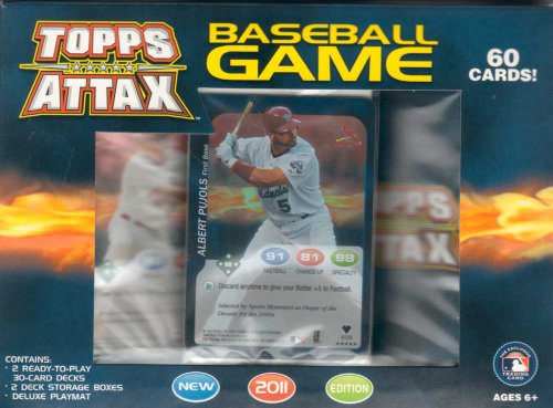 "2011 Topps Attax Baseball Factory Sealed 60 Card Game Starter Kit. Each Starter Kit Contains One 29-card Deck ""A"" Pack Plus One 29-card Deck ""B"" Pack Plus Two Foil Cards Plus One Toppstown.com Card Plus One Deluxe Playmat, Rules and Two Player Deck Storage Boxes."