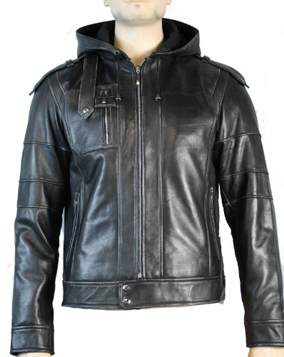 Mens Real Leather Jacket / Fitted Hooded / Retro / Zipped Pockets (xxxlarge, Black)