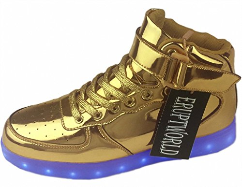 ERUPTWORLD Women Men Lace Up Lightweight USB Charging LED Sneakers Light up Shoes (Mens Disco Shoes)