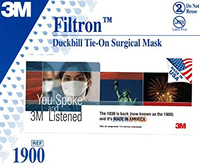 3M Filtron 1900 Duckbill NIOSH R95 Approved Tie-On Surgical / Medical Mask 50-PACK by 3M