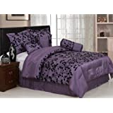 Chezmoi Collection 7-Piece Floral Flocking Comforter/Bed in a Bag Set, Queen, Purple/Black