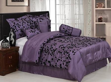 7 Pieces Purple with Black Velvet Floral Flocking Comforter
