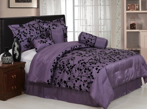 7 Pieces Purple with Black Velvet Floral Flocking Comforter (92