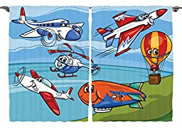Ambesonne Kids Baby Decor Collection, Aeroplane Cartoons Toy Planes Jets Helicopter and Hot Air Balloon Dusty Aircraft Ship, Window Treatments for Kids Bedroom Curtain 2 Panels Set, 108X63 Inches