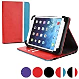 Cooper Cases (TM) Diplomat Striped Acer Iconia Tab A100 / A101 / A110 / A1-830 Portfolio Case in Red & Blue (Universal Fit, Business/Credit Card Slots, 360-Degree Rotating Viewing Stand, Elastic Strap Cover Lock)