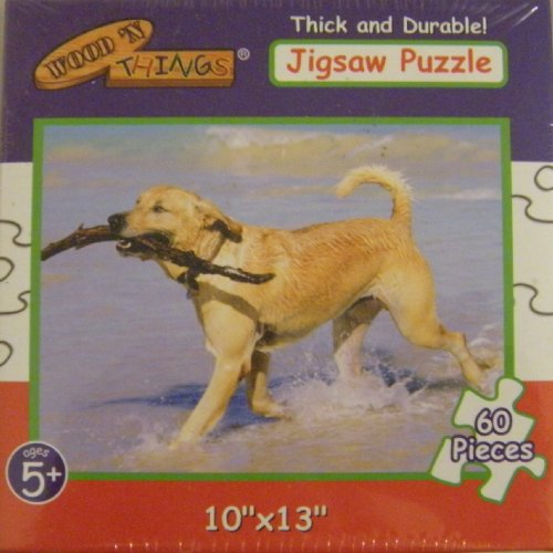 Thick and Durable Jigsaw Puzzle: Dog with Stick - 1