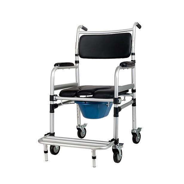 LI JING SHOP - Piegare la sedia del gabinetto mobile Ispessimento della ruota di cintura in lega di alluminio Donne incinte Vecchio bagno di toilette per uso domestico Sedia Dimensioni: 56X87 X98-107 cm