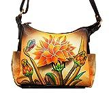 Niarvi Yellow Dahlia Leder Handgemalte Handbag