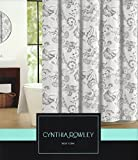 Cynthia Rowley French Flower Fabric Shower Curtain Dark Gray, Gray/Taupe White