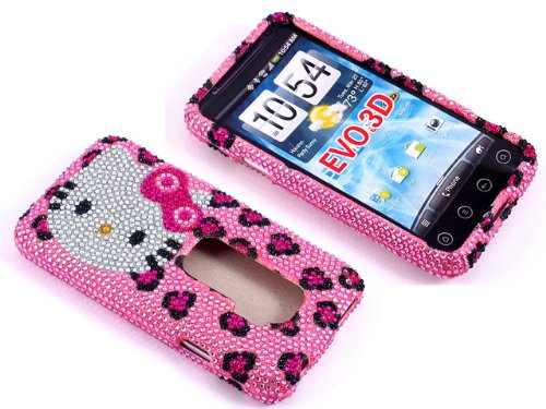 Jeweled snap on full cover case for sprint htc evo 3d (evo3d-leopard