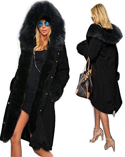 Women Winter Warm Thick Faux Fur Coat Outdoor Hood Parka Long Jacket Size 8-18 (18, Black)