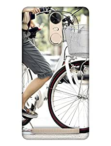 PrintHaat 3D Hard Polycarbonate Designer Back Case Cover for Lenovo K5 Note :: Lenovo Vibe K5 Note Pro (memorable girl design :: Fairy girl :: sweet girl design with cycle :: cute girl with bicycle :: girl riding bicycle design :: Angel Girl :: smart girl :: stylish girl in black grey and white)