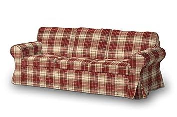 FRANC-TEXTIL 610-142-06 Ektorp 3-Plazas Sofá funda no plegable, sofá funda para Ektorp 3-plazas no plegable, Mirella, burdeos/marrón