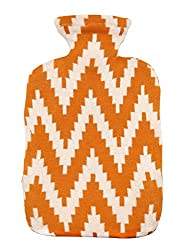 Pluchi Frey Orange & Natural Knitted Hot Water Bottle Cover-Large