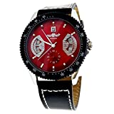 WINNER W128 Fashion Men''s Boys Red Round Dial Automatic Mechanical Wrist Watch with Date PU Band (Black)