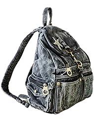 SAIERLONG MsBP Women's And Girl's Backpack School Bag Travel Bag Black Jean