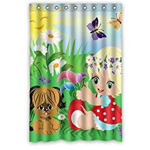 Little Girl And Dog An A Meadow Custom Shower Curtain 48 X 72 With 9 Holes To