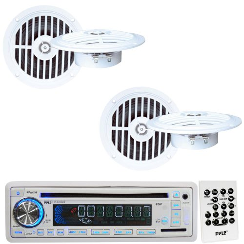 Pyle Marine Radio Receiver And Speaker Package - Plcd35Mr Am/Fm-Mpx In-Dash Marine Cd/Mp3 Player/Usb & Sd Card Function - 2X Plmr57W 2 Pairs Of 5 1/4'' Dual Cone Waterproof Stereo Speaker System