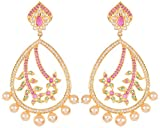 Violet and Purple Alloy Gold Plated Dangle and Drop Earrings for Women (1000030883)