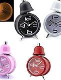 ZQY Metal Single Bell Retro Alarm Clock Desktop Table Modern Time Display (Random Color)
