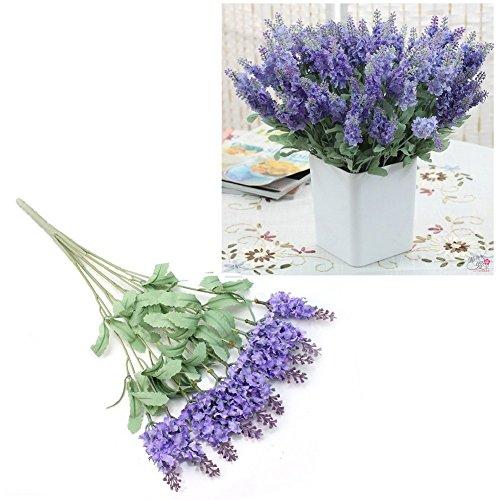 10 Heads Lavender Artificial Flower Bunch Bouquet Home Party Decor Light Purple By Homgaty