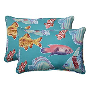 Pillow Perfect Indoor/Outdoor Kiley Corded Oversized Rectangular Throw Pillow, Lagoon, Set of 2 from Pillow Perfect