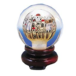 In Painted Jerusalem Design Paperweight Snow Globe