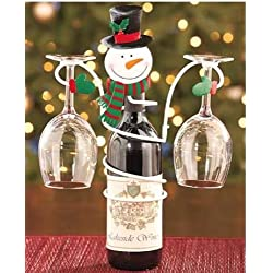 Holiday Snowman Wine Bottle & Glass Holder