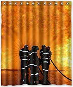 Http Amazon Com Special Firefighter Waterproof Bathroom Curtain Dp B00zev9z6a