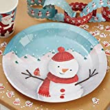 Ginger Ray Christmas Party Snowman Childrens Paper Plates x 8 - Christmas Snowman