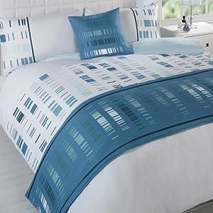 Staten Teal King Size Duvet Quilt bedding Set Bed in Bag