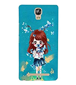 Fuson Premium Butterfly Girl Printed Hard Plastic Back Case Cover for Gionee Marathon M5 Plus