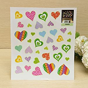 Love Heart Luminous Fluorescent Wallpaper Cartoon Wall Sticker@Kuntaashop from BgUK