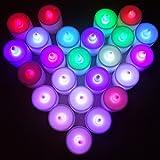 Xcellent Global Bougies à LED Lot de 24 Lumières de Thé à Piles sans flammes,à LED Coloré P-LD010