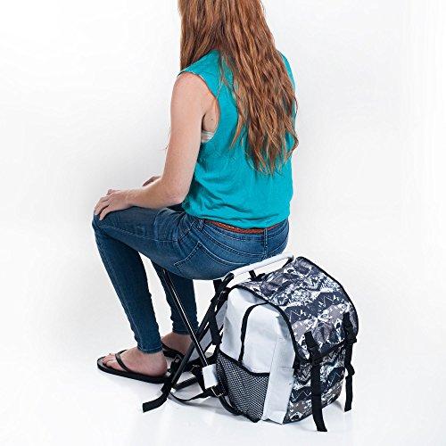 Stalwart Backpack And Folding Stool Combo White Black