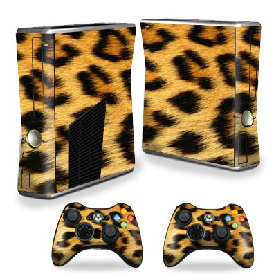 Protective Vinyl Skin Decal Cover for Microsoft Xbox 360 S Slim + 2 Controller Skins Sticker Skins Cheetah