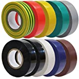 All Trade Direct 10 Mixed Colour Electrical Insulation Tape 20M Professional British Standard