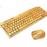 バンブー/竹製の無線ワイヤレスキーボード&光学式マウスセット/竹/バンブー/素材/無線/ワイヤレス/ナチュラル/キーボード/マウス