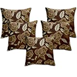 Story @ Home Brown Designer Digital Print Cushion Cover Set Of 5 Pcs