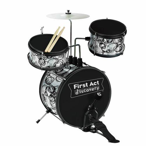 First Act Fd7049 Jr. Drum Set, Black/Silver