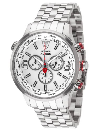 Detomaso Aurino Men's Quartz Watch with White Dial Chronograph Display and Silver Stainless Steel Bracelet DT1061-D