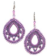 Just Give Me Jewels Handcrafted Lavender/Purple Beaded Teardrop Dangle Earrings