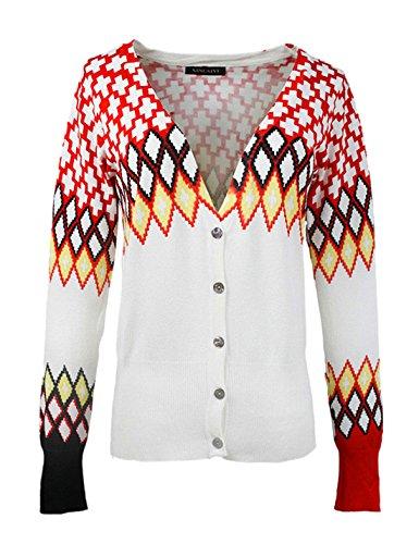 Yacun Women's Fashion V-neck Cross Diamond Print Button Down Cardigan KDKD4299